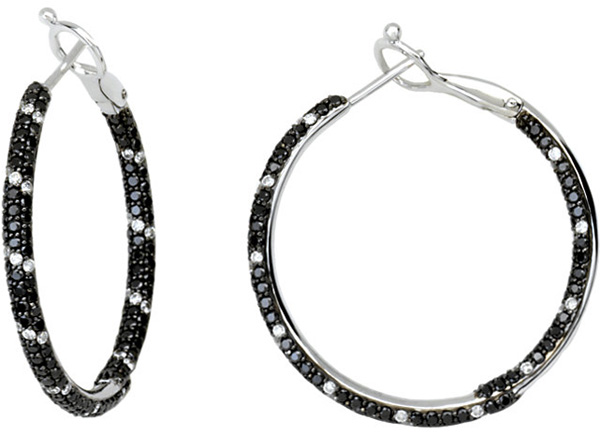 Pave 14 Karat White Gold 2 Carat Total Weight Black & White Diamond Inside/Outside Hoop Earrings