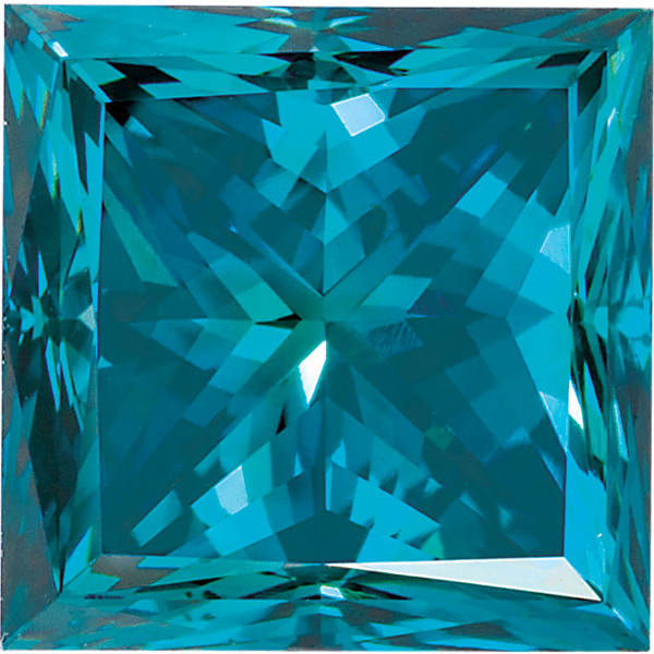 Princess Cut Teal Blue Diamond - Enhanced Genuine