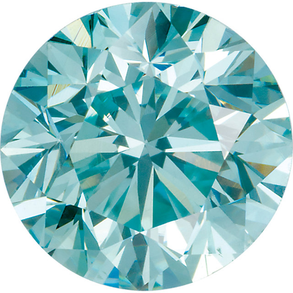 Aqua Blue Genuine Diamonds Round Cut