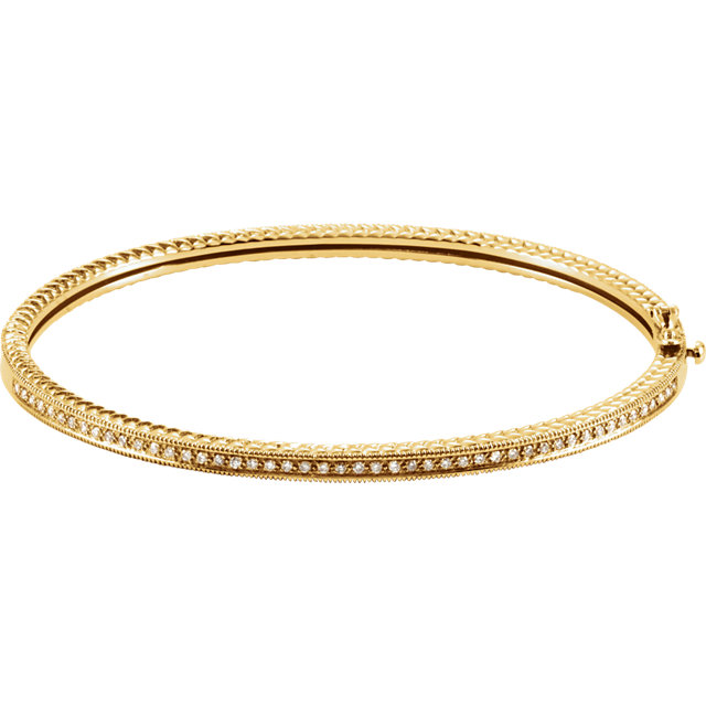 14KT Yellow Gold 1/3 CTW Diamond Bangle Bracelet