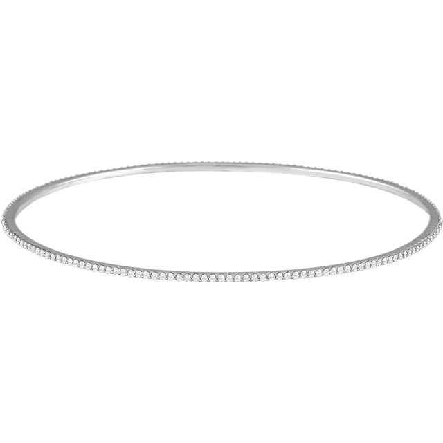 14KT White Gold 1 CTW Diamond Stackable Bangle Bracelet