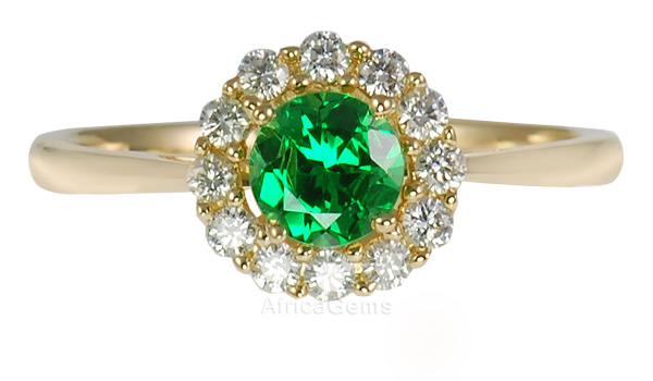 Vivid Green Perfect .35ct 4mm Round Cut Tsavorite Garnet & Diamond Gold Ring in Yellow Gold - 14kt
