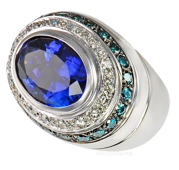 Deepest Color Tanzanite Custom Made Ring set with Blue & White Diamonds  - SOLD