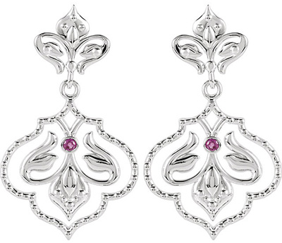 Finely Wrought Fleur De Lis Ruby Dangle Earrings in Sterling Silver - Grade A Diamond Cut 1.75 mm .06ct Ruby Gem