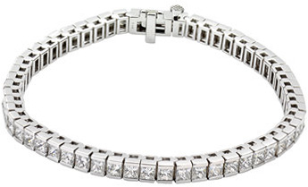 Channel Set Tennis Style 18 Karat White Gold 9 Carat Total Weight Diamond Line 7.25