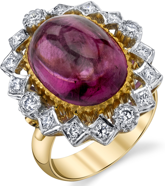 Gorgeous Large 13.29ct Cabochon Rubelite Tourmaline in 18kt White & Yellow Gold - Diamond Accents