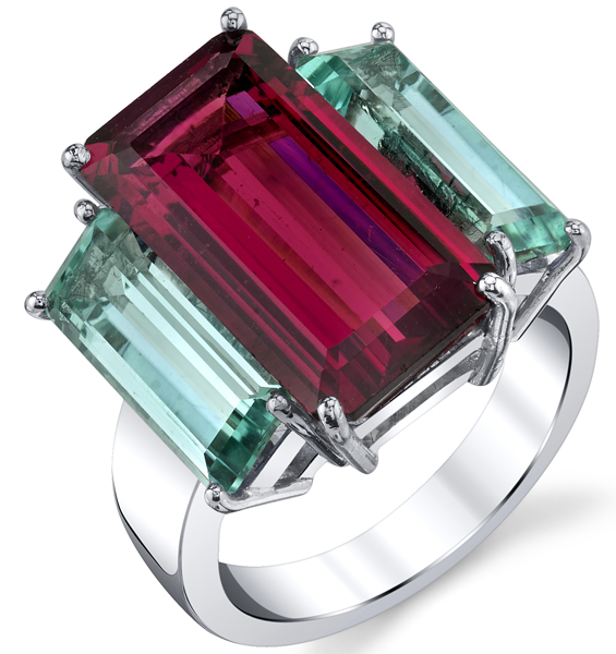 Bold 18kt White Gold 3-Stone Ring - Pink & Indicolite Tourmaline Emerald Cut Gems