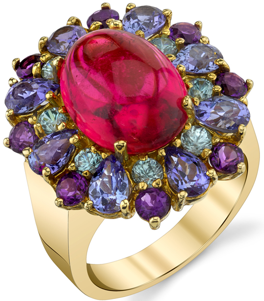 Gemmy Gorgeous 8.14ct Oval Pink Tourmaline Cabochon Ring - Colorful Gemstone Wreath of Tanzanite, Zircon & Amethyst
