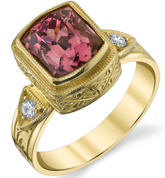 Unique Hand Made Bezel Set 3.55ct Cushion Pink Tourmaline18kt Yellow Gold Ring With Diamond Accents