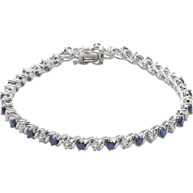14KT White Gold Created Blue Sapphire & 1/10 Carat Total Weight Diamond Line 7
