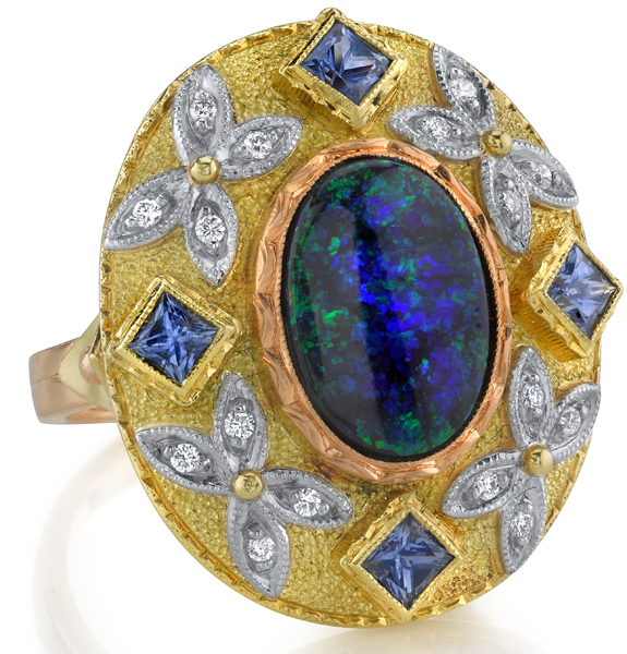 Unique Handmade 3.51ct Oval Black Opal Statement Ring With Princess Cut Blue Sapphires & Diamonds - 18kt 2Tone Gold