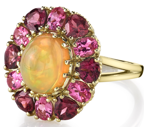 Stunning 10x8mm Oval Opal Flower Ring With Oval Pink Spinel & Pear Garnet Petals - 18kt Yellow Gold