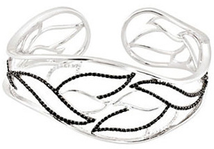 Leaf Style Sterling Silver Black Spinel & 1/6 Carat Total Weight Diamond Hinged Cuff Bracelet
