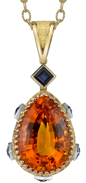 Bright & Beautiful 20x14mm Pear Shape Citrine 18kt White & Yellow Gold Handmade Pendant - Blue Sapphire Accents