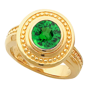 Fun & Flirty Style 14k Gold Bezel Set with 1 carat 6mm Tsavorite Garnet Fashion Ring With Ornate Beaded Look