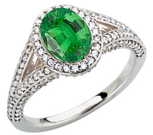 Stunning Large GEM Deep Green .8ct Tsavorite Garnet 7x5mm Oval Cut in Heavy Diamond Pave Gold Ring
