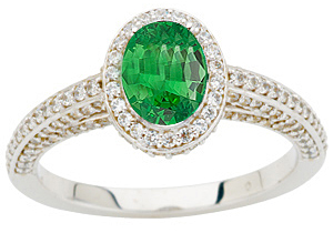 Intricate Diamond Pave Ring, 1.50 carats Diamond set with Genuine .8ct Tsavorite Garnet GEM 7x5mm Oval Cut