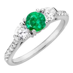 Stylish Round 1 carat GEM Grade Natural 6.00 mm Emerald Gemstone Colored Engagement Ring - Diamond Side Gems and Diamond Accents Along Band