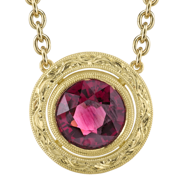 Beautiful Ornate 18kt Yellow Gold Handmade Bezel Set 9mm Garnet Necklace