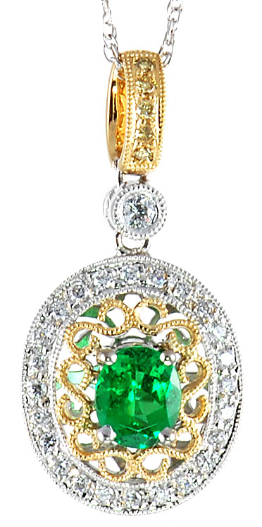 Vivid .49ct 6x4mm Oval Cut Tsavorite and Diamond pendant in 2 tone 18 kt gold - Free Chain - For SALE