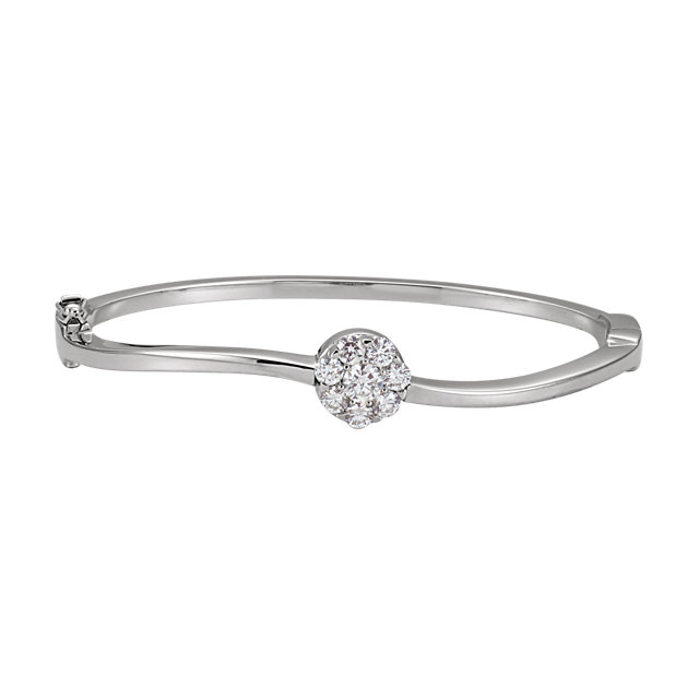 14KT White Gold 1 CTW Diamond Circle Bangle Bracelet