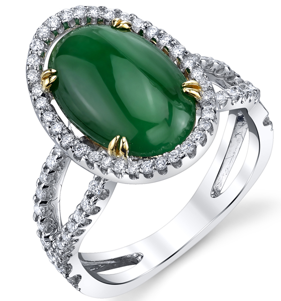 Amazing 13x10mm Imperial Jadeite Halo Ring in 18kt White Gold - 0.44ctw Diamond Accents