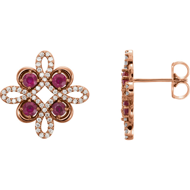 14KT Rose Gold Ruby & 1/4 CTW Diamond Earrings