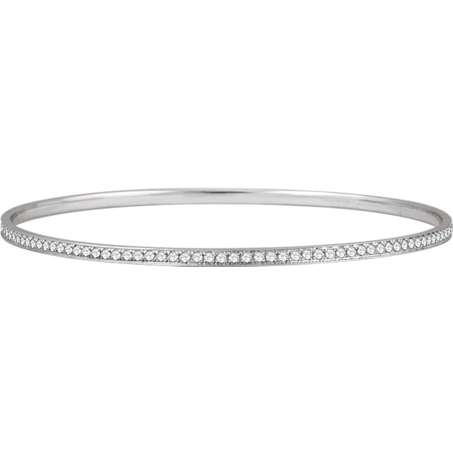 14KT White Gold 1 1/2 CTW Diamond Bangle Bracelet