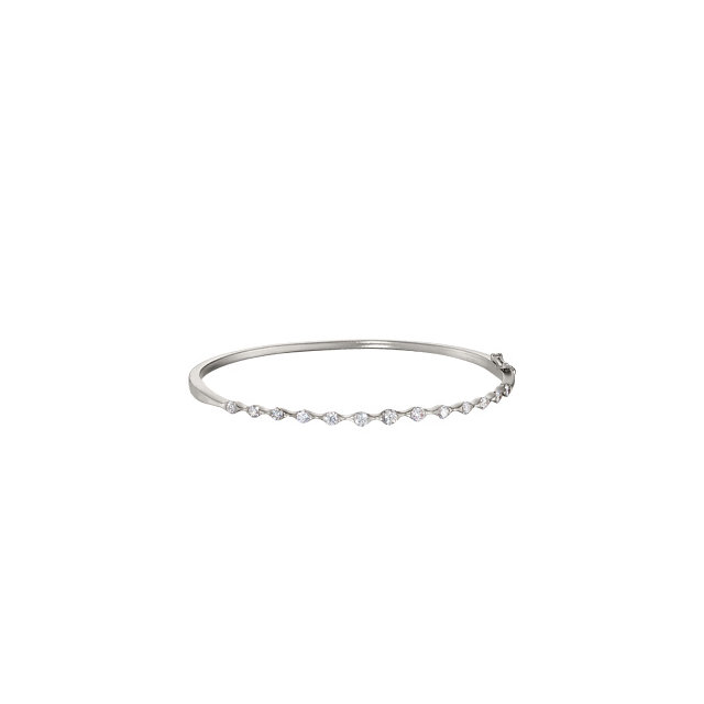 14KT White Gold 1 CTW Diamond Bangle Bracelet