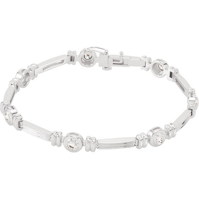 14KT White Gold 1 CTW Diamond Line Bracelet