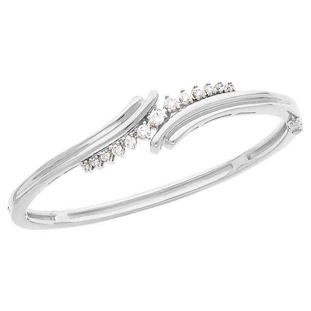 14KT White Gold 1/2 CTW Diamond Bangle Bracelet
