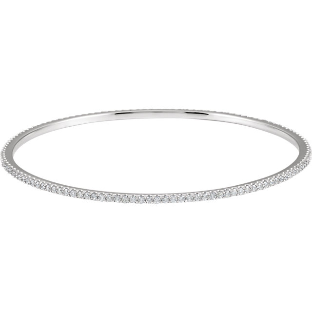 14KT White Gold 2 CTW Diamond Stackable Bangle Bracelet