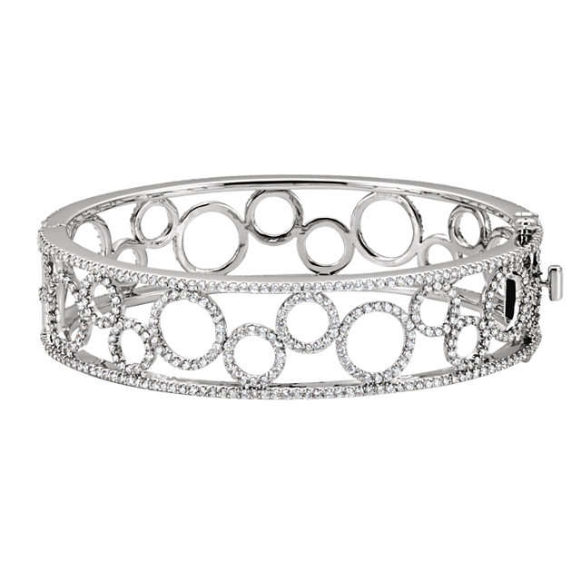 14KT White Gold 6 7/8 CTW Diamond Bangle Bracelet