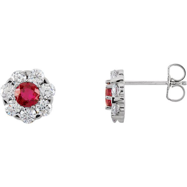 14KT White Gold Ruby & 1 1/8 CTW Diamond Cluster Earrings