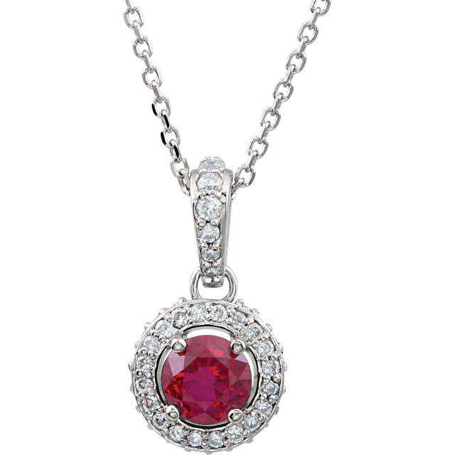 14KT White Gold Ruby & 1/4 CTW Diamond 18