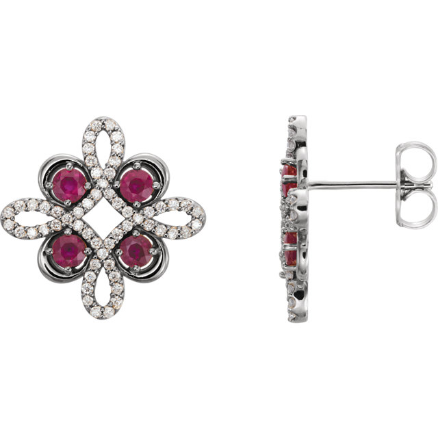 14KT White Gold Ruby & 1/4 CTW Diamond Earrings
