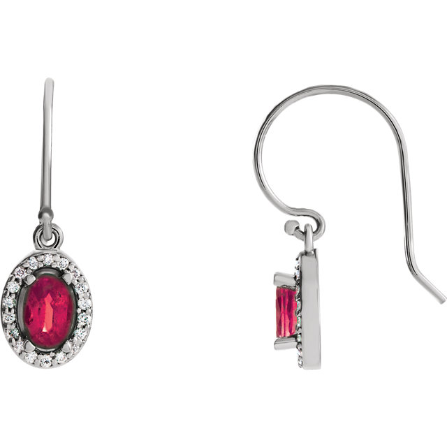 14KT White Gold Ruby & 1/5 CTW Diamond Earrings
