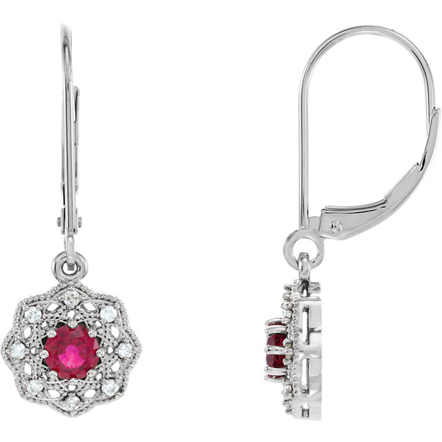 14KT White Gold Ruby & 1/8 CTW Diamond Halo-Style Earrings