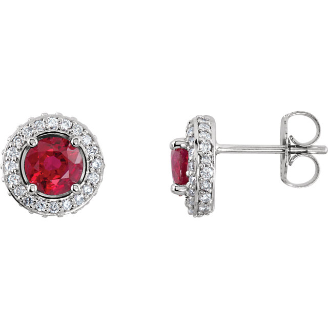 14KT White Gold Ruby & 3/8 CTW Diamond Earrings