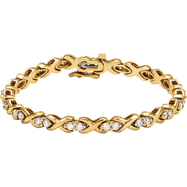 14KT Yellow Gold 2 1/2 CTW Diamond Line Bracelet