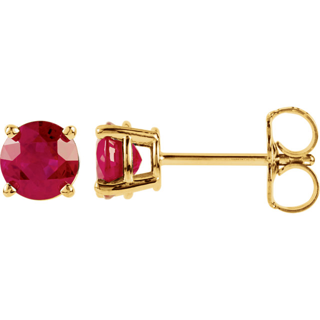 14KT Yellow Gold 5mm Round Ruby Earrings