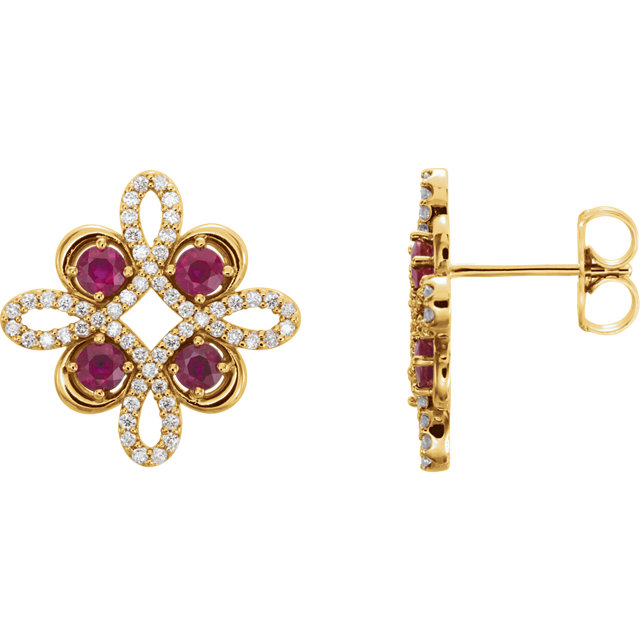 14KT Yellow Gold Ruby & 1/4 CTW Diamond Earrings