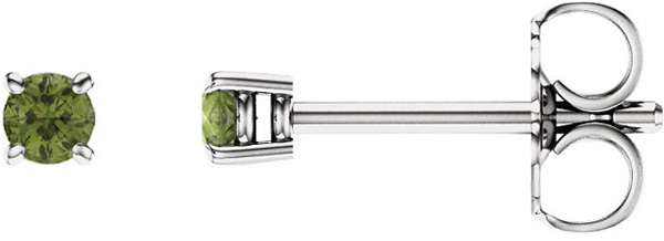 4-Prong Stud 14 Karat White Gold 2.5mm Round Peridot Earrings