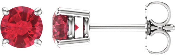 4-Prong Stud 14 Karat White Gold 5mm Round Ruby Earrings
