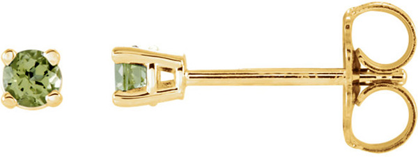 4-Prong Stud 14 Karat Yellow Gold 2.5mm Round Peridot Earrings