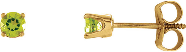 4-Prong Stud 14 Karat Yellow Gold 3mm AA Grade Peridot Youth Earrings