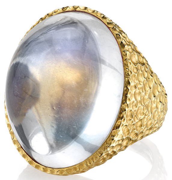 Alluring 54.186ct Oversized Oval Moonstone Gemstone Ring - Hammered 18kt Yellow Gold