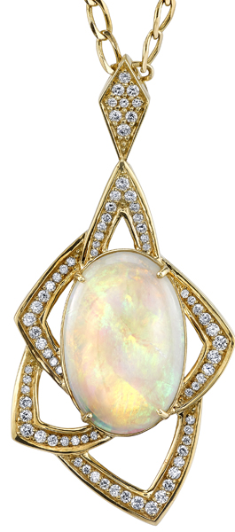 Fabulous Lightening Ridge Opal Pendant With Unique 18kt Yellow Gold & Diamond Details