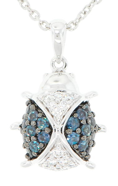 Genuine Alexandrite and Diamond LadyBug Pendant in 18 kt White Gold - SOLD