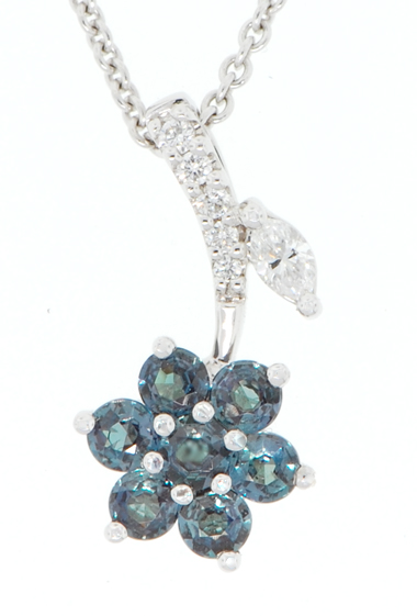 Genuine Flower Design .44ct 2.5mm Round Cut Alexandrites and Diamond Pendant in 18 kt White Gold